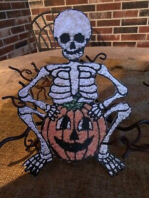 Vintage Repro Popcorn Style Skeleton Pumpkin Halloween Cardstock Decoration,10