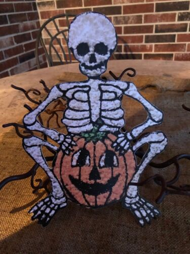 Vintage Repro Popcorn Style Skeleton Pumpkin Halloween Cardstock Decoration,10""