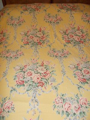 - Rare Ralph Lauren Evelyn Yellow Chintz Floral Full Flat Sheet Go W Lillian