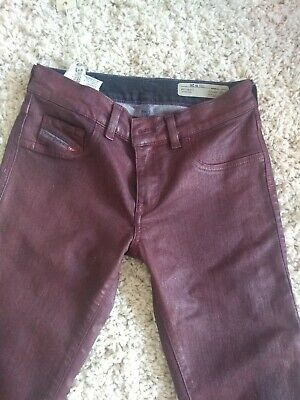 NEW,Diesel,Jeans jegging, Red coated,women, Size 26W,tags, super slim, low waist