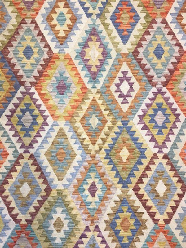 Crisp Colorful - New Kilim Rug - Flatweave Tribal Carpet - 6.8 X 9.10 Ft.
