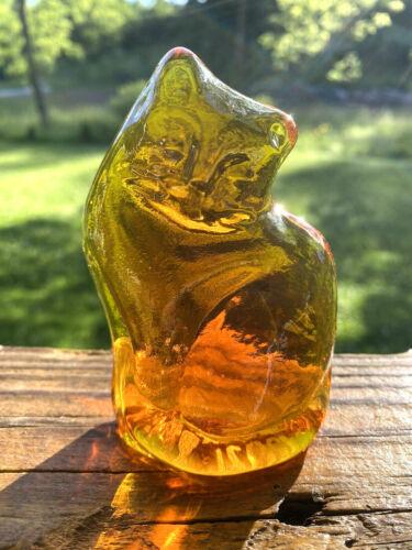 Blenko Glass Cat Figurine Paperweight - Tangerine