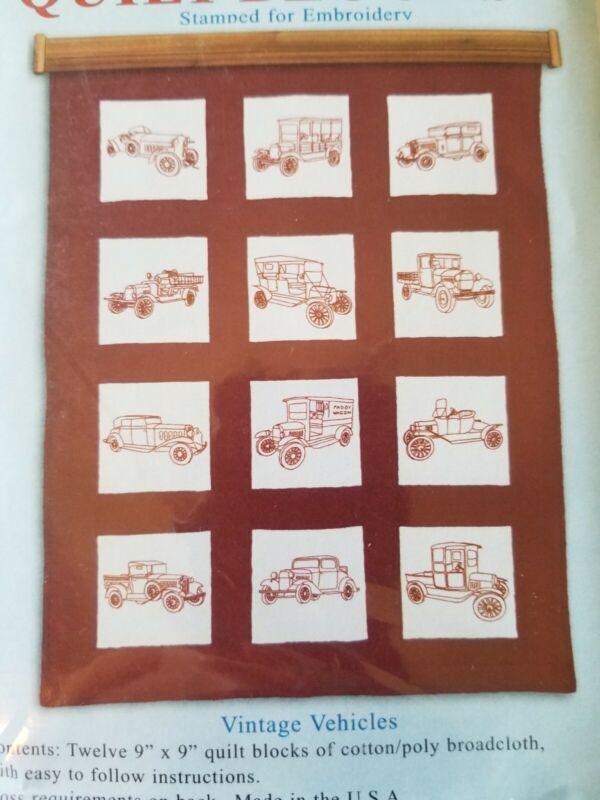 "New Stamped embroidery Stem Stitch quilt block Set 12-9"" x 9"" Vintage Vehicles"