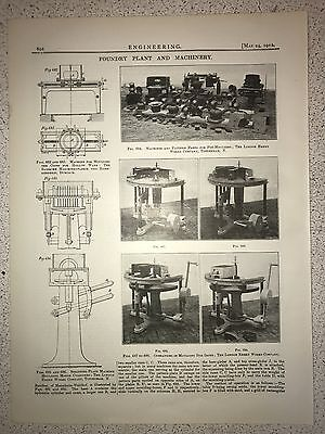 Foundry Plant And Machinery: 1912 Engineering Magazine Print