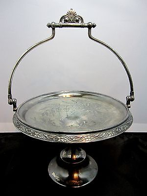 Antique Victorian Reed & Barton Silver Plate Elevated Bridal Basket Handle #3515