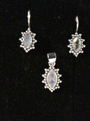 Silberschmuck Mondstein Set Anhänger Ohrringe NEU OVP 925 Echt Silber punziert