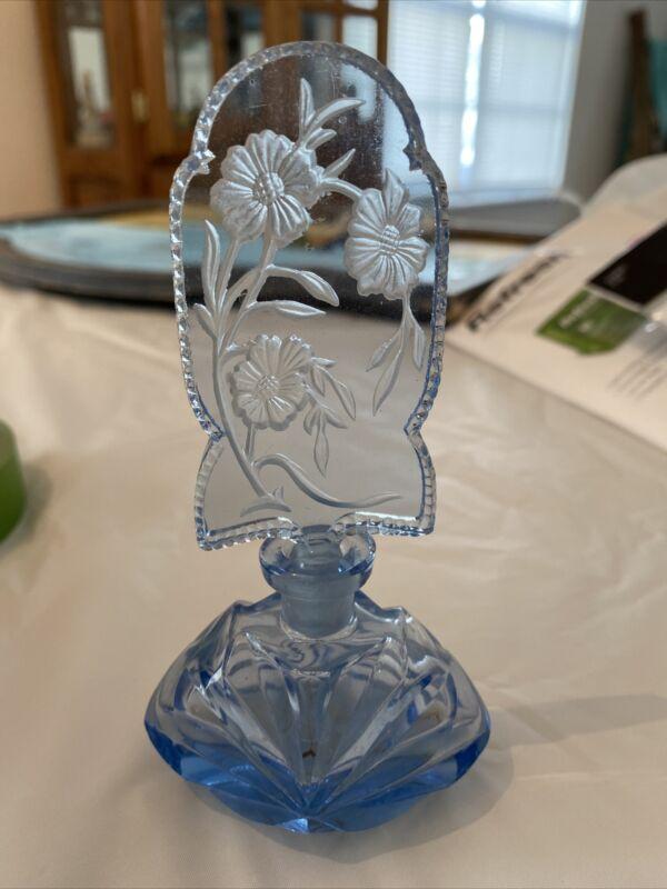Vintage Czech Decorative Blue Crystal Perfume Bottle 1920's