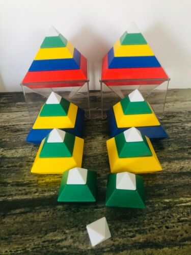 Lot of 29 WEDGiTS Pyramid Building Blocks  plus 2 stands - XLNT pre-owned cond.