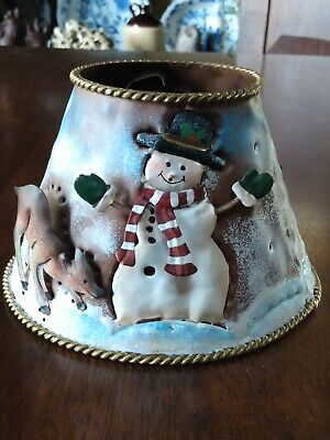 """Vintage Christmas Punched Tin Metal Snowman Candle Jar Topper Lamp Shade 5"""" x 4"""""""