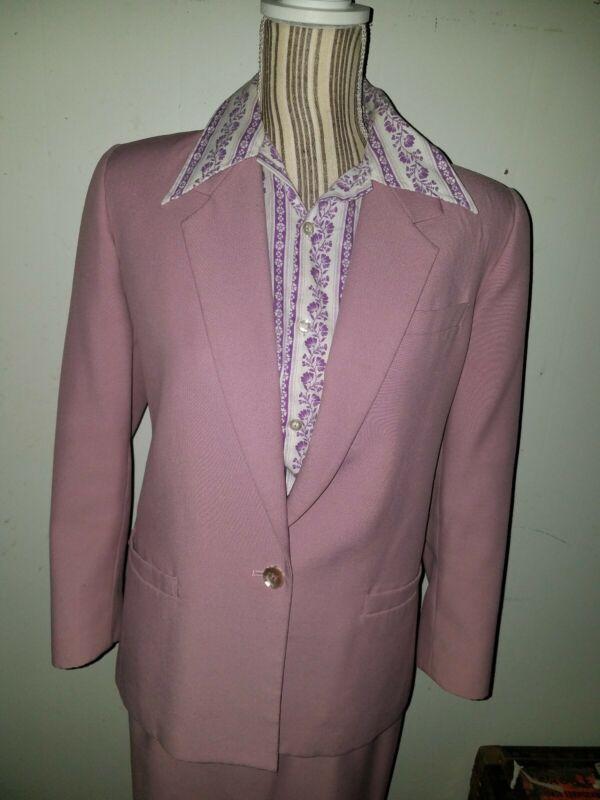 Vintage 80s Sasson Petite 2 piece Polyester Suit Skirt Lavender Size 8/9