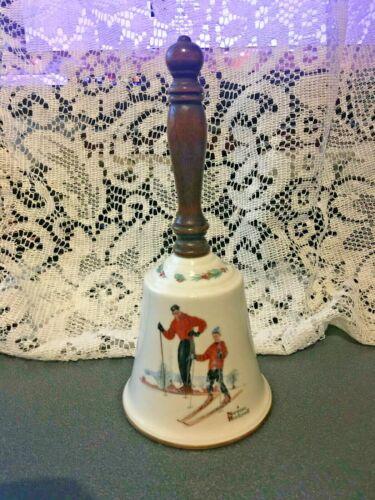 "Vintage Norman Rockwell Bell Wooden Handle Ski Skills Gorham 1981 9"" Tall"