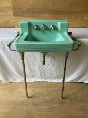 Vtg Deco Jadeite Ming Green Porcelain Wall Sink Chrome legs Towel Bars 34-21E