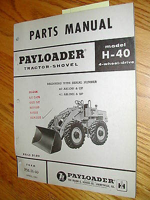 Hough H-40 Parts Manual Book Catalog Wheel Payloader Guide List International Ih