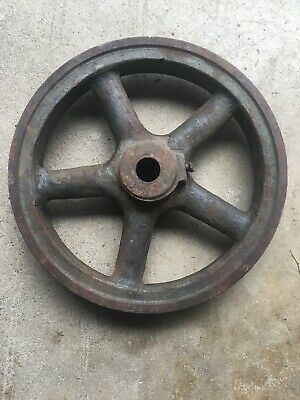 Antique 13.5vintage Steampunk Industrial Single Groove Cast Iron Pulley Wheel