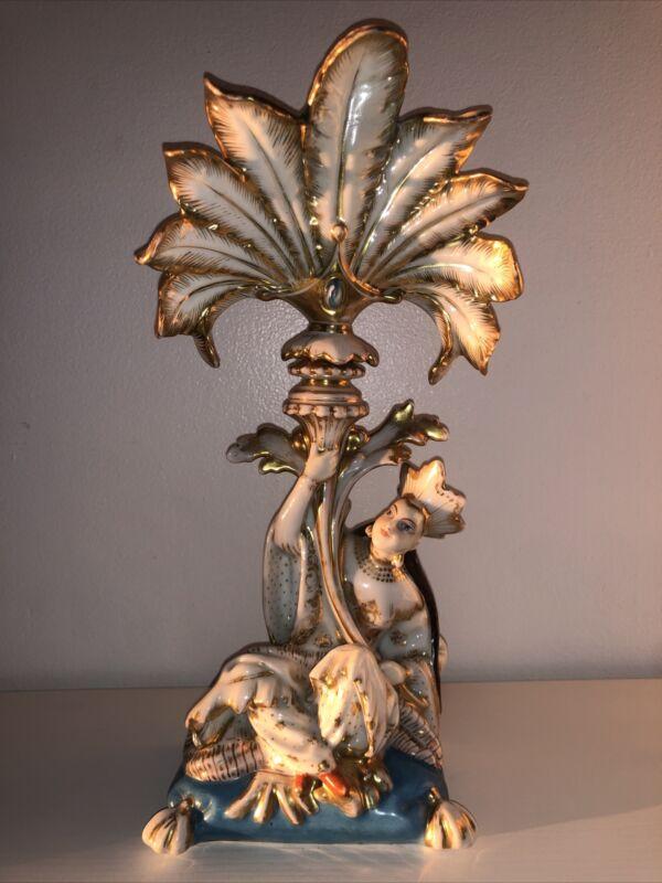 Antique French Porcelain Jacob Petit Old Paris Candle Vase Lady Woman Figurine