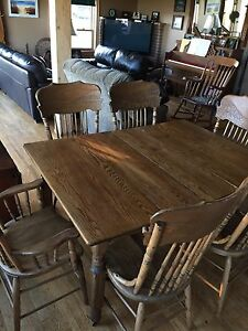 Antique table, chairs and hutch