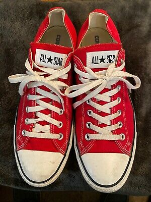Men's Converse All Star Red Canvas Lowtop Sneakers Size 12 Men's 14 Women's EUC