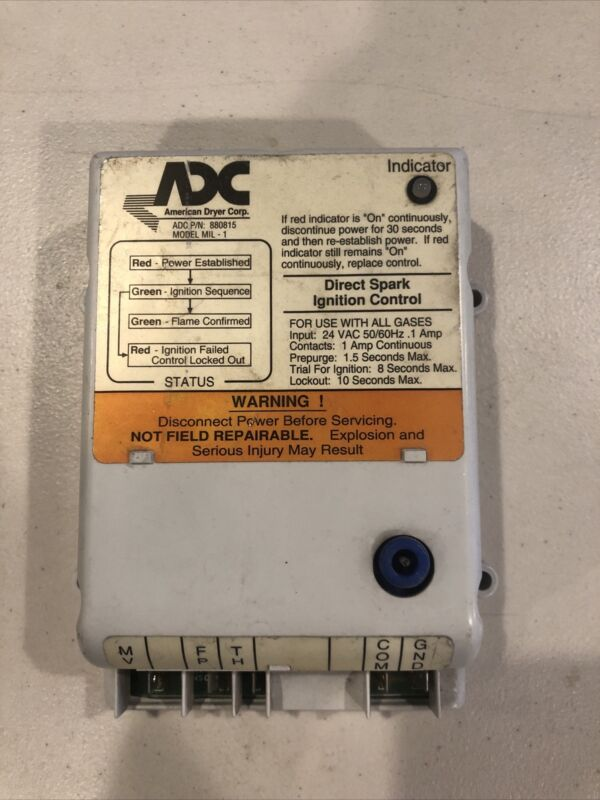 ADV Dryer Electronic Ignition Control Box 24V 50/60Hz P/N 880815 Used Sold As Is