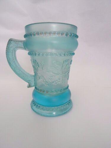 Joe St. Clair Art Glass Beaded HOLLY BAND Berry BLUE MUG