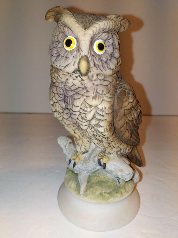 "Vintage Lefton Hand Painted China Owl Figurine  Brown 6.25"""