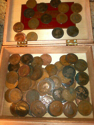 99 Vintage British Large Penny UK copper lot 1860s up in wooden cigar box Wowee