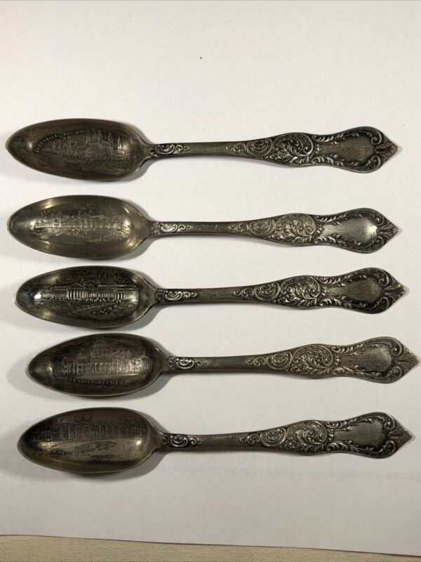 5 Diff 1893 COLOMBIAN EXPO Chicago Souvenir Building LEONARD Silver Plate Spoon