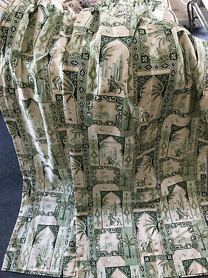 VINTAGE Cream & Sage Green Oriental Pattern Pair of Curtains 46 x 56