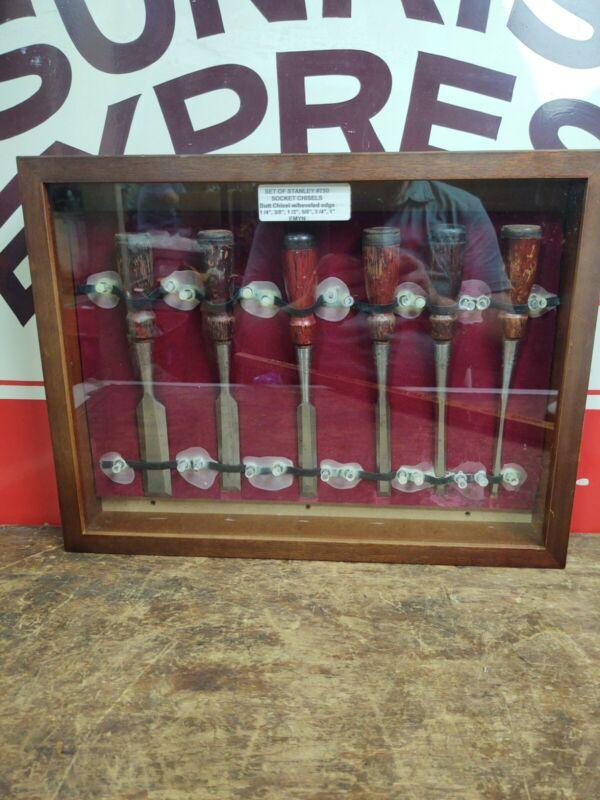 Vintage Stanley #750 Bevel Edge Socket Wood Chisels in Showcase set of 6