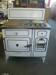 Antique White Porcelain Chambers Gas Stove - Early Rare Model -