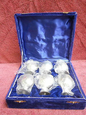 VINTAGE  BOXED  SET 6  EQUISITE  E.P.N.S. SHERRY  GOBLETS  6.5cm  MADE IN INDIA