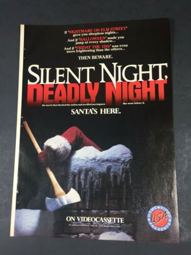 Vintage 1986 SILENT NIGHT DEADLY NIGHT Horror Home Video poster Print AD