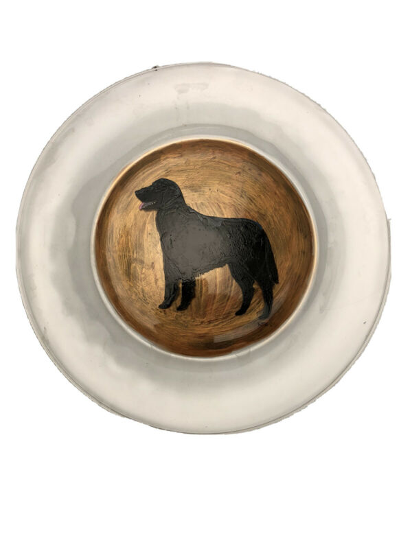 "Flat Coated Retriever FCR Hand Painted Plate Original Art  10.5"" Round"