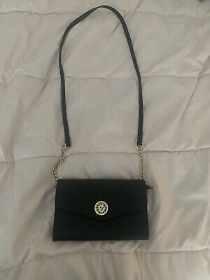 Anne Klein Black Cross Body Bag With Front Flap Faux Leather Embossed. EUC