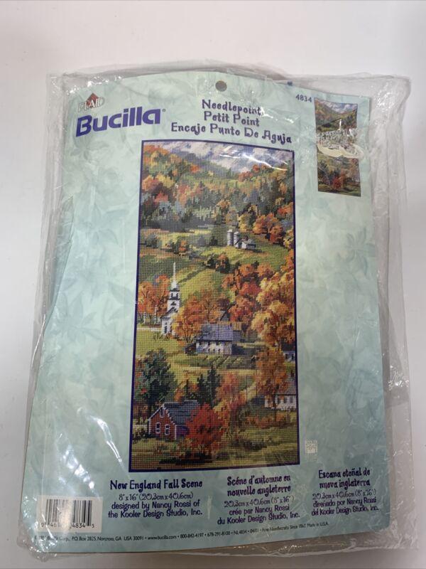 Bucilla New England Fall Scene Needlepoint Kit #4834 By Nancy Rossi Crafts Hobby