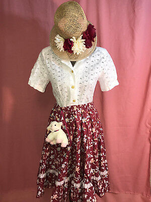 Mary Little Lamb Costume (MARY MARY Miss Muffet  COSTUME size 6 M little lamb top skirt mop cap Mardi)