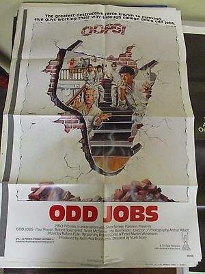 Vintage 1 sheet 27x41 Movie Poster Odd Jobs 1986 Paul Reiser