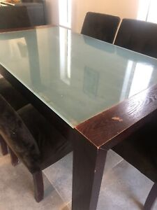 Free 6 seater table and chairs glass and wood! Free