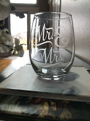Stemless Wine Glasses Set of 4 Etched Glass Teacher Gift Wedding House Warming