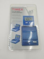 TIMEX Blue Alarm Clock AM FM Radio Flip Top Travel Portable LED New Sealed