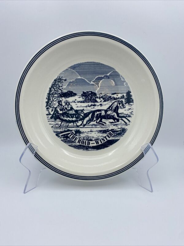 """Royal China Jeanette Currier and Ives Pie Plate THE ROAD-WINTER 10"""" BLUE"""