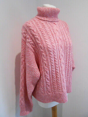 J. Crew Collection cropped cable knit turtle neck sweater jumper chunky knit M