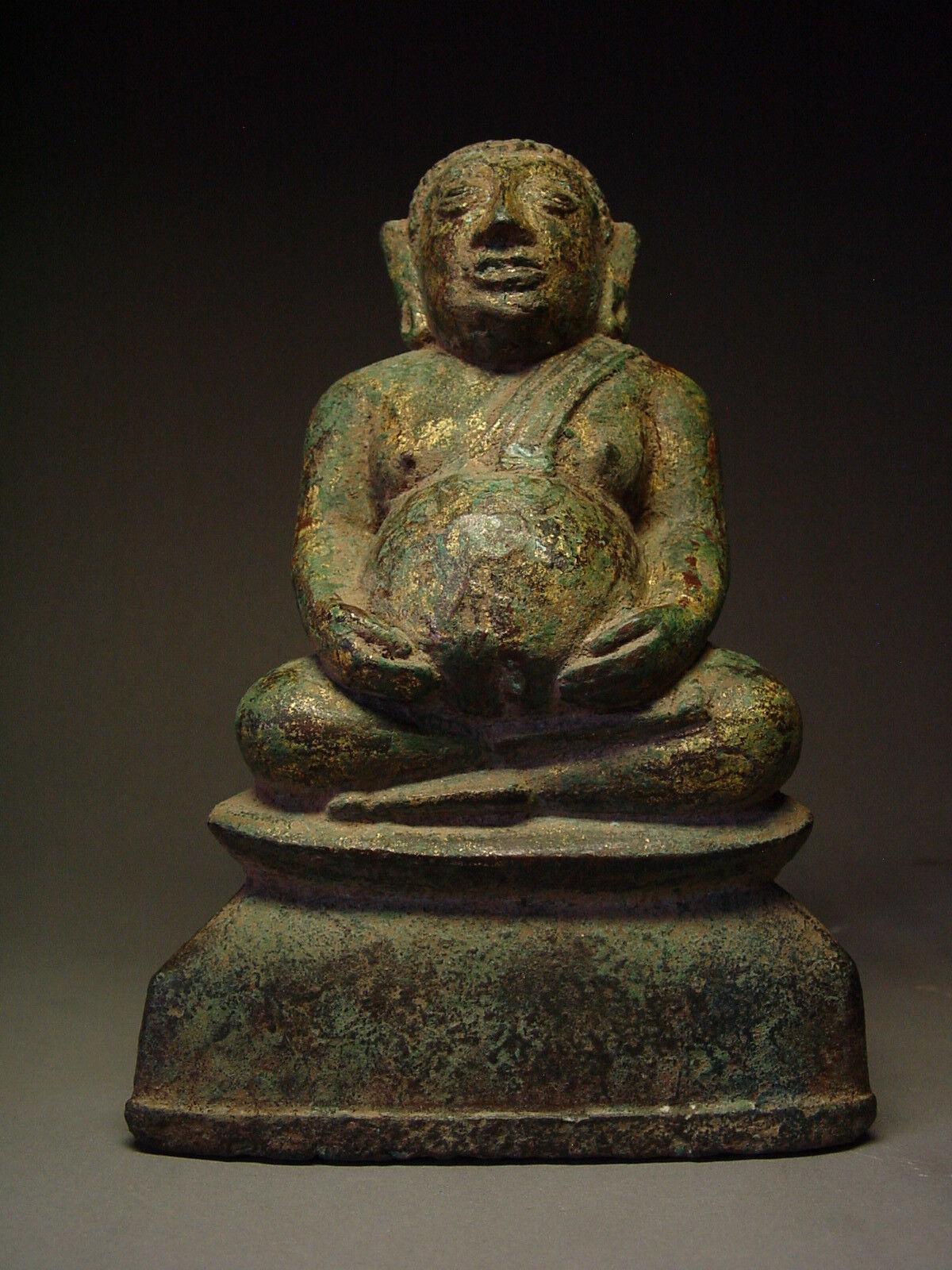RARE SOUTHEAST ASIA GILDED BRONZE BUDDHIST DISCIPLE 'PHRA SANGKAJAI' 18th C.