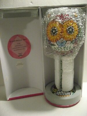 Lolita Wine Glass Halloween Hand Painted SUGAR SKULLS, TWO - Halloween Wine Glasses Painted