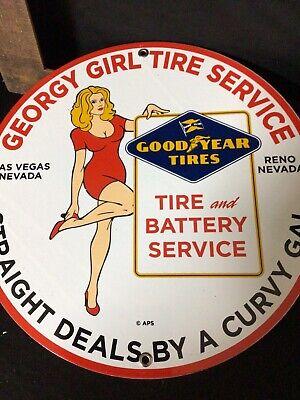 VINTAGE GOODYEAR TIRES & BATTERY SERVICE PORCELAIN ENAMEL GAS STATION SIGN