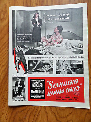 1944 Movie Ad Standing Room Only Paulette Goddard Fred MacMurray 7 Up Soda Ad