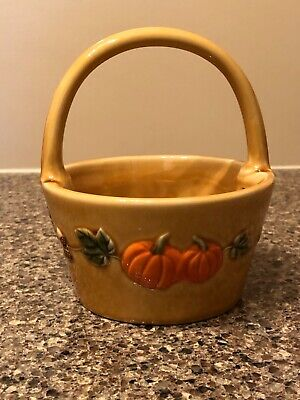 Croft & Barrow Ceramic Fall Pumpkins and Acorns Basket