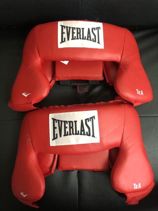 Everlast Boxing Head Gear Red Adjustable Set Of 2 Head Piece Headgear 4022