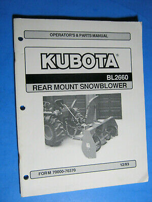 Kubota Bl2660 Snowblower Parts  Operators Manual Factory Oem