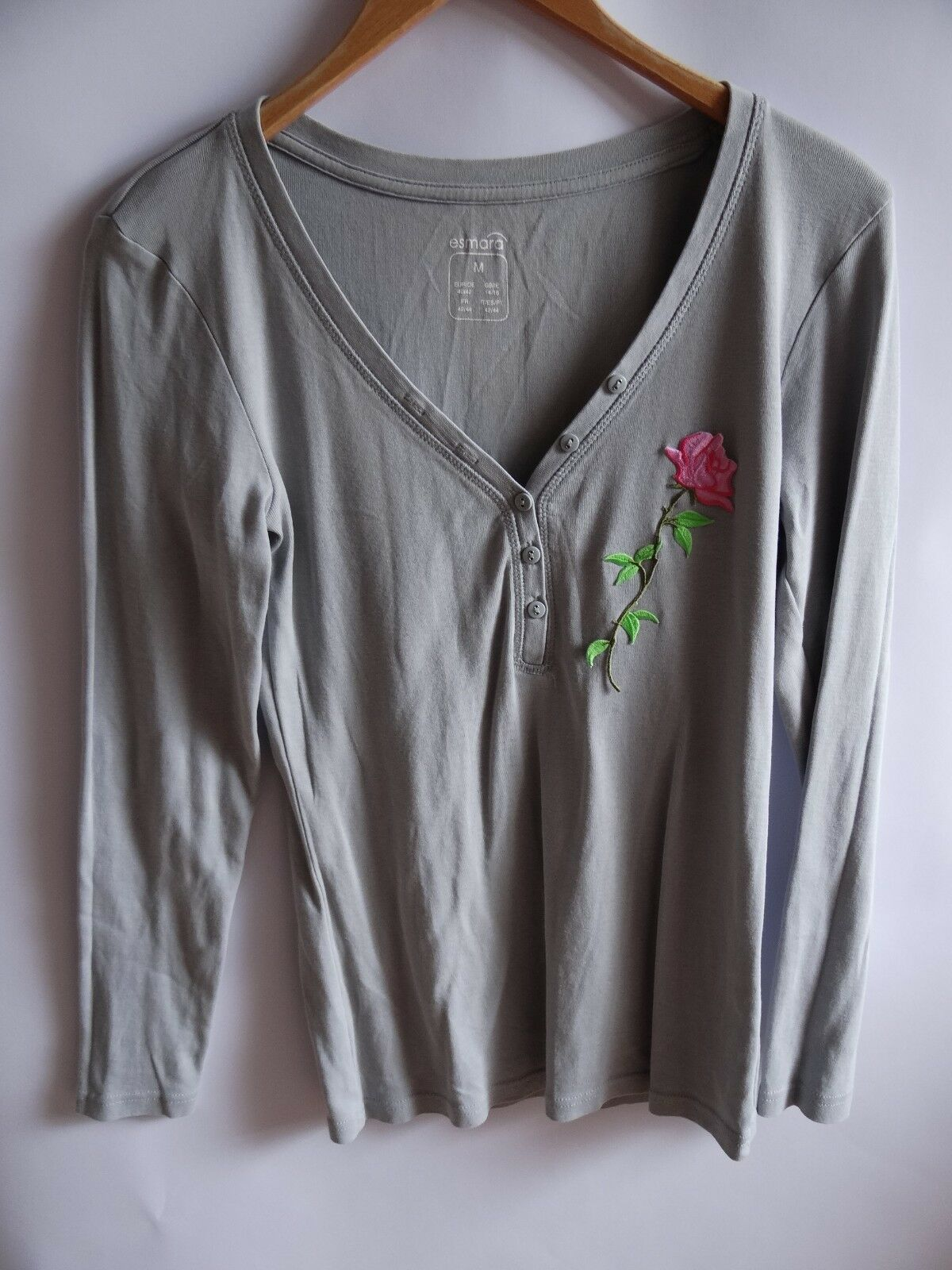 "Damen Bluse – Original ""Esmara"" mit toller Applikation Rose - Größe M"