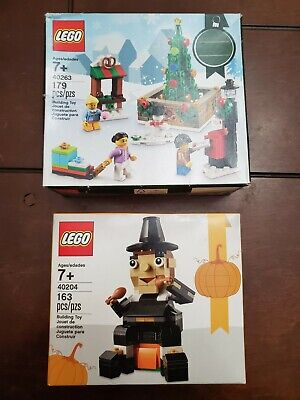 LEGO 40263 Christmas Town Square 2017 and 40204 Thanksgiving Pilgrim Lot of 2